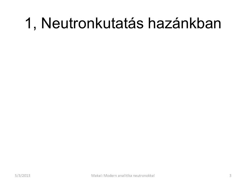 A reaktor stacionárius állapotában A neutronok Maxwell-Boltzmann spektruma 300K és 30 K moderátorhőmérsékletnél 5/3/201314Makai: Modern analitika neutronokkal