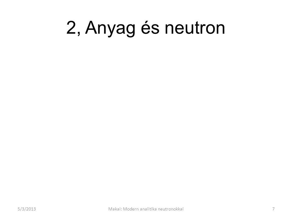 A neutron A röntgensugár és a neutronok alkalmasak az anyag struktúrájának kutatására: De Broglie hullámhosszuk az atomok közötti távolság nagyságrendjébe esik a termikus neutronok energiája összemérhető a minta atomjainak mozgási energiájával.