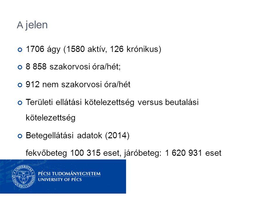 A jelen 1706 ágy (1580 aktív, 126 krónikus) 8 858 szakorvosi óra/hét; 912 nem szakorvosi óra/hét Területi ellátási kötelezettség versus beutalási köte