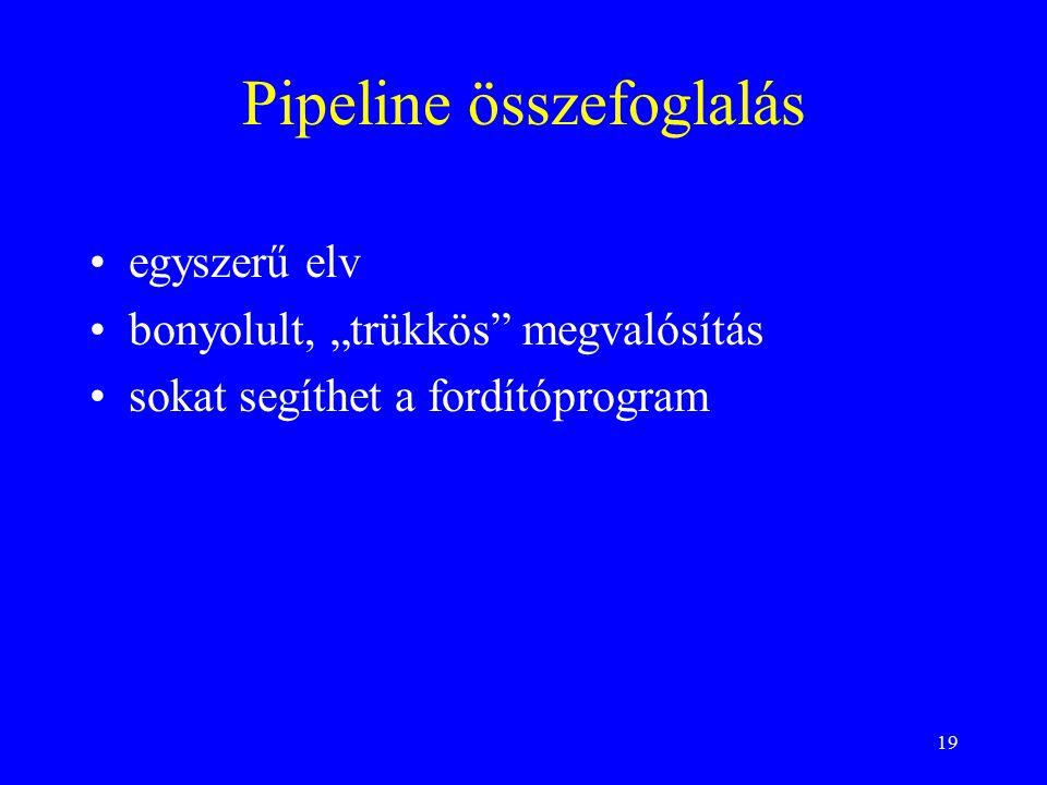 """19 Pipeline összefoglalás egyszerű elv bonyolult, """"trükkös megvalósítás sokat segíthet a fordítóprogram"""