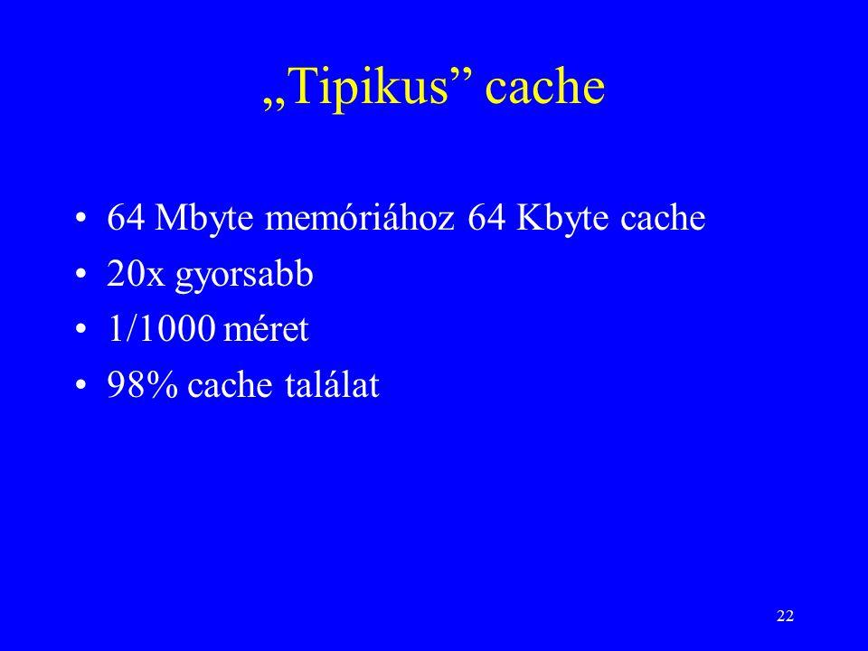 """22 """"Tipikus cache 64 Mbyte memóriához 64 Kbyte cache 20x gyorsabb 1/1000 méret 98% cache találat"""