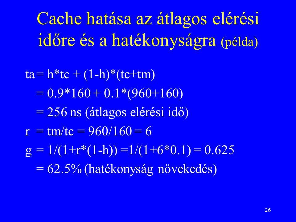 26 Cache hatása az átlagos elérési időre és a hatékonyságra (példa) ta= h*tc + (1-h)*(tc+tm) = 0.9*160 + 0.1*(960+160) = 256 ns (átlagos elérési idő) r= tm/tc = 960/160 = 6 g= 1/(1+r*(1-h)) =1/(1+6*0.1) = 0.625 = 62.5% (hatékonyság növekedés)