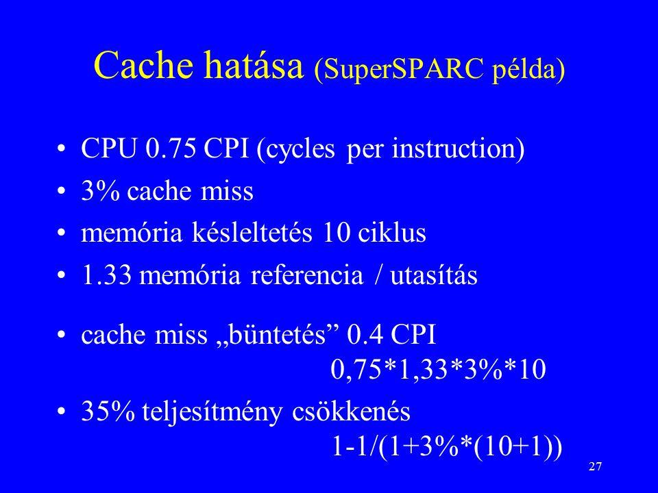 """27 Cache hatása (SuperSPARC példa) CPU 0.75 CPI (cycles per instruction) 3% cache miss memória késleltetés 10 ciklus 1.33 memória referencia / utasítás cache miss """"büntetés 0.4 CPI 0,75*1,33*3%*10 35% teljesítmény csökkenés 1-1/(1+3%*(10+1))"""