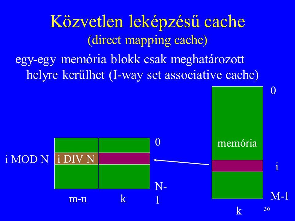 30 Közvetlen leképzésű cache (direct mapping cache) egy-egy memória blokk csak meghatározott helyre kerülhet (I-way set associative cache) memória 0 M-1 0 N- 1 k k i i MOD N m-n i DIV N