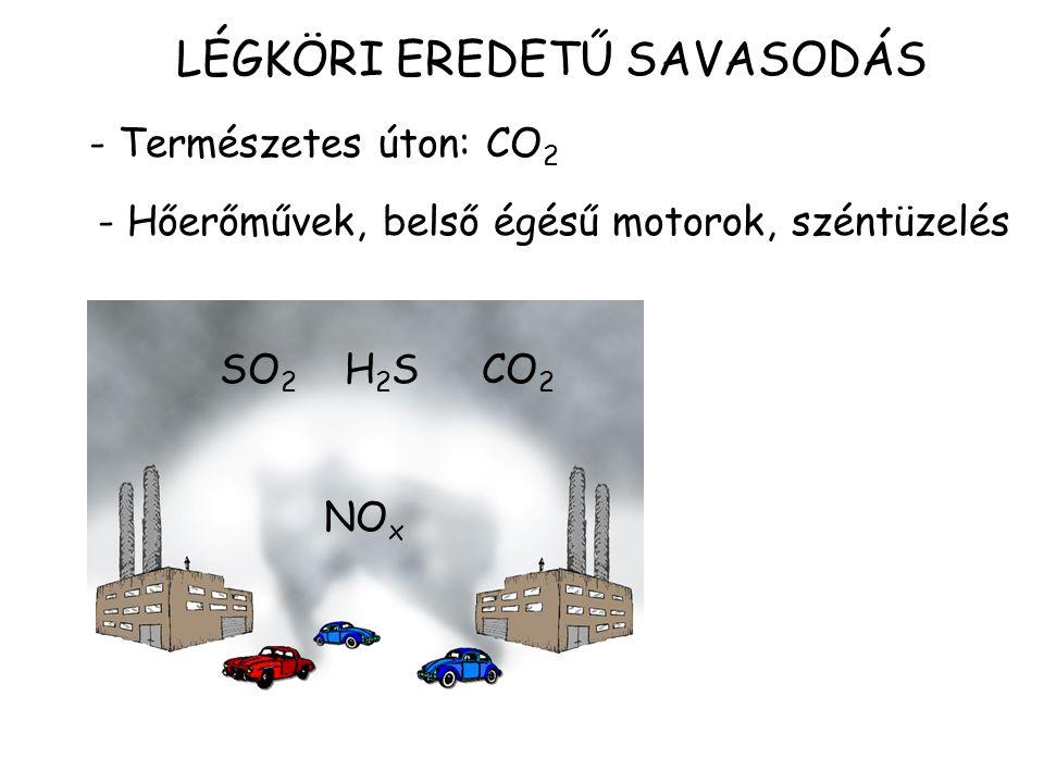- Természetes úton: CO 2 LÉGKÖRI EREDETŰ SAVASODÁS - Hőerőművek, belső égésű motorok, széntüzelés SO 2 H 2 S CO 2 NO x