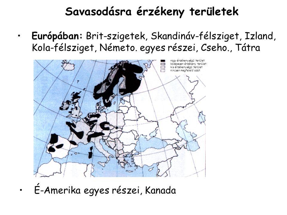 Savasodásra érzékeny területek Európában: Brit-szigetek, Skandináv-félsziget, Izland, Kola-félsziget, Németo.