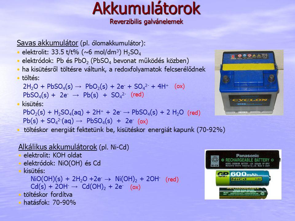 Akkumulátorok Reverzibilis galvánelemek Savas akkumulátor (pl.
