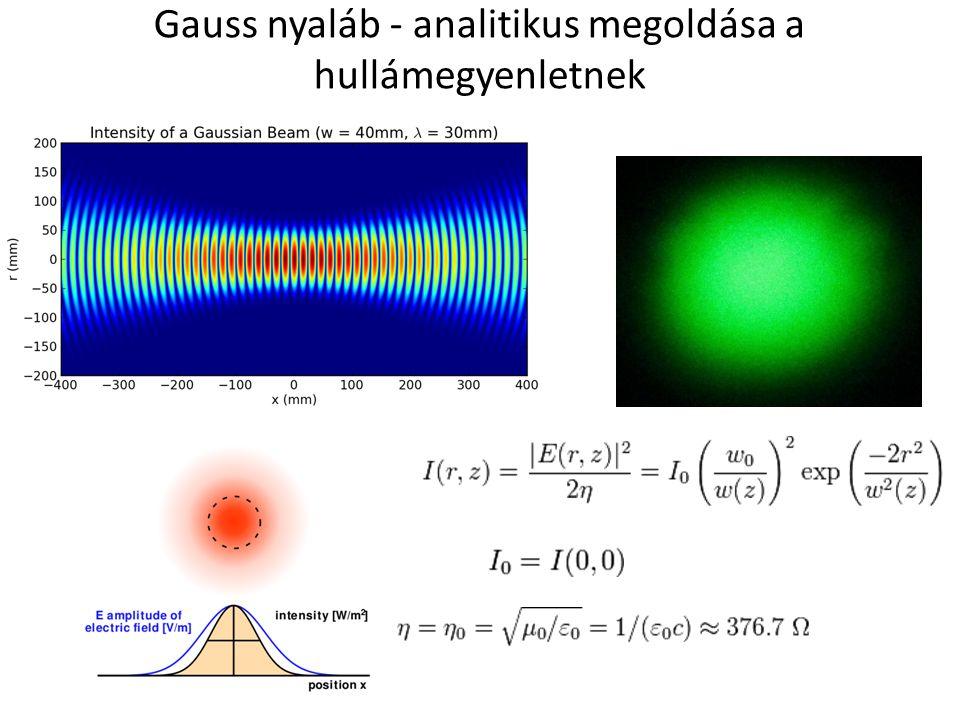 Gauss nyaláb - analitikus megoldása a hullámegyenletnek
