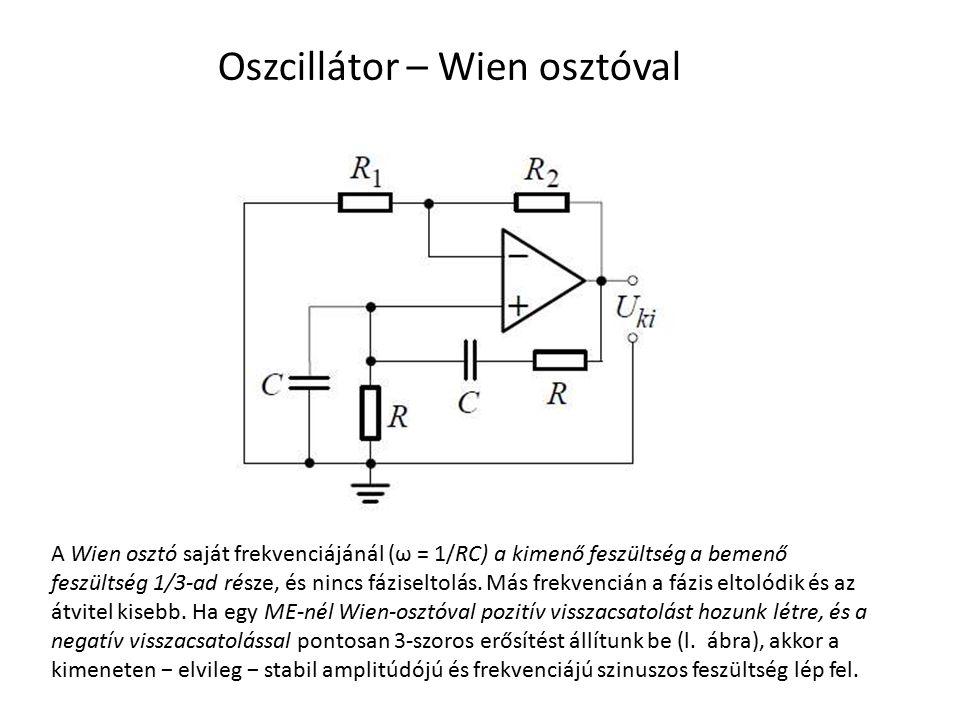 Oszcillátor – Wien osztóval A Wien osztó saját frekvenciájánál (ω = 1/RC) a kimenő feszültség a bemenő feszültség 1/3-ad része, és nincs fáziseltolás.