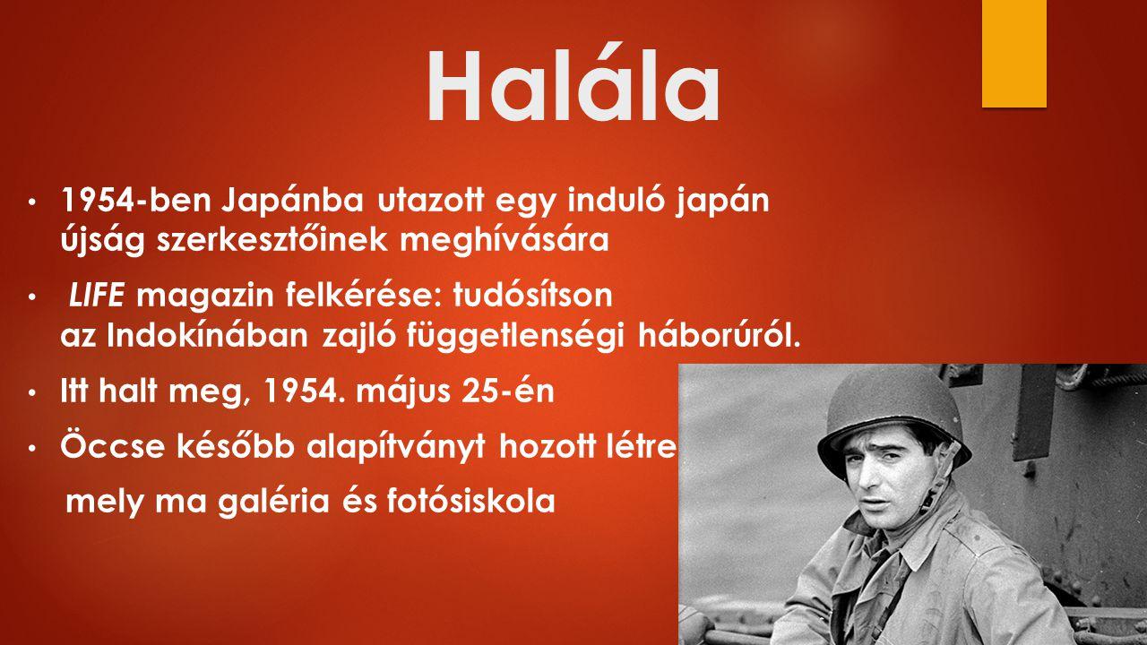 Halála 1954-ben Japánba utazott egy induló japán újság szerkesztőinek meghívására LIFE magazin felkérése: tudósítson az Indokínában zajló függetlenségi háborúról.