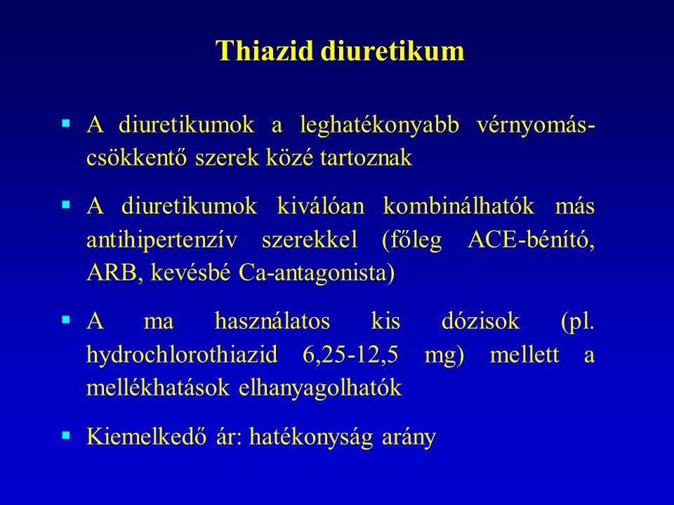 Thiazid diuretikum  A diuretikumok a leghatékonyabb vérnyomás- csökkentő szerek közé tartoznak  A diuretikumok kiválóan kombinálhatók más antihipert