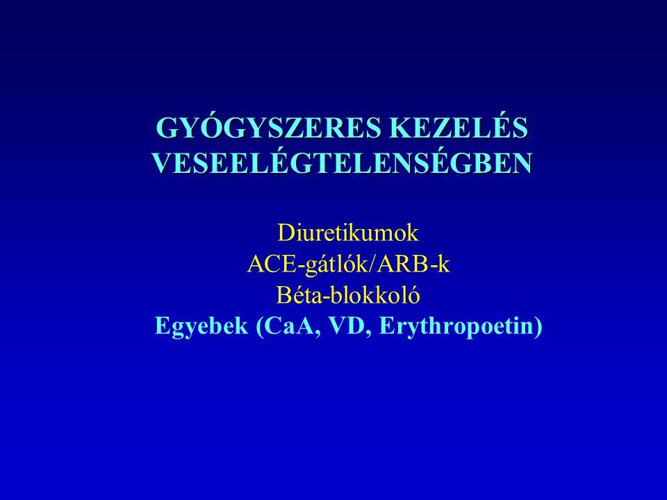 GYÓGYSZERES KEZELÉS VESEELÉGTELENSÉGBEN Diuretikumok ACE-gátlók/ARB-k Béta-blokkoló Egyebek (CaA, VD, Erythropoetin)