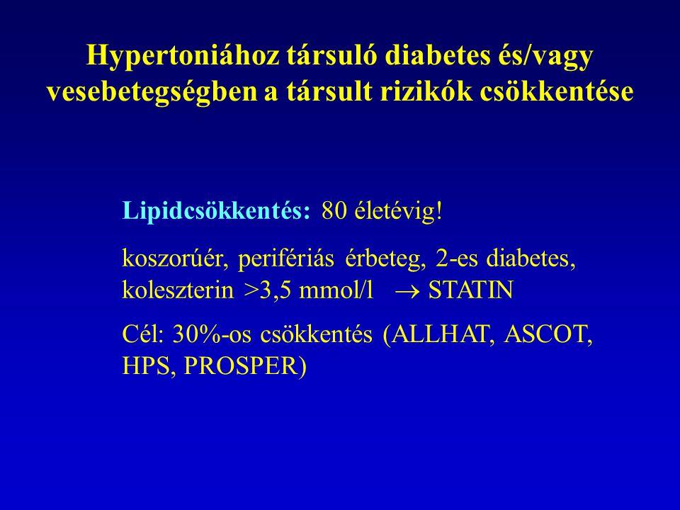 Hypertoniához társuló diabetes és/vagy vesebetegségben a társult rizikók csökkentése Lipidcsökkentés: 80 életévig! koszorúér, perifériás érbeteg, 2-es
