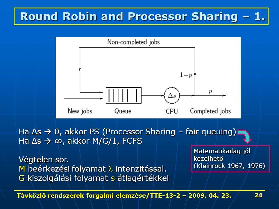 Távközlő rendszerek forgalmi elemzése/TTE-13-2 – 2009. 04. 23. 24 Round Robin and Processor Sharing – 1. Ha Δs  0, akkor PS (Processor Sharing – fair