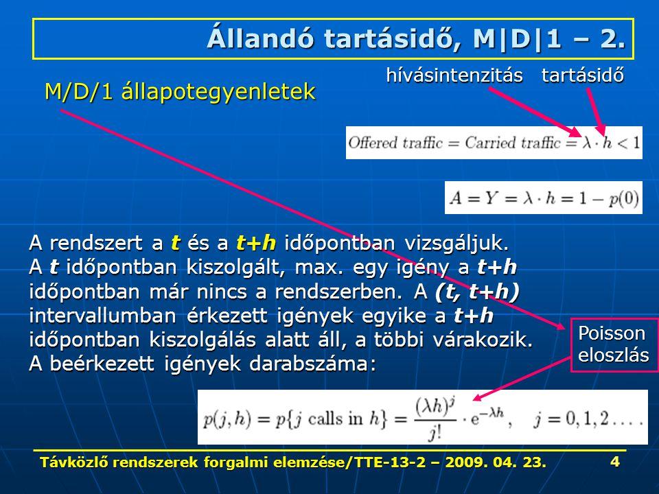 Távközlő rendszerek forgalmi elemzése/TTE-13-2 – 2009. 04. 23. 4 Állandó tartásidő, M|D|1 – 2. M/D/1 állapotegyenletek hívásintenzitás tartásidő A ren