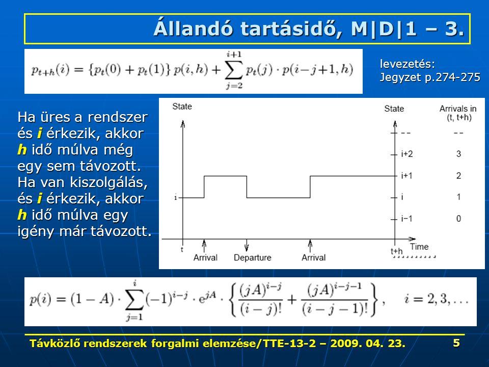 Távközlő rendszerek forgalmi elemzése/TTE-13-2 – 2009. 04. 23. 5 Állandó tartásidő, M|D|1 – 3. ………. Ha üres a rendszer és i érkezik, akkor h idő múlva