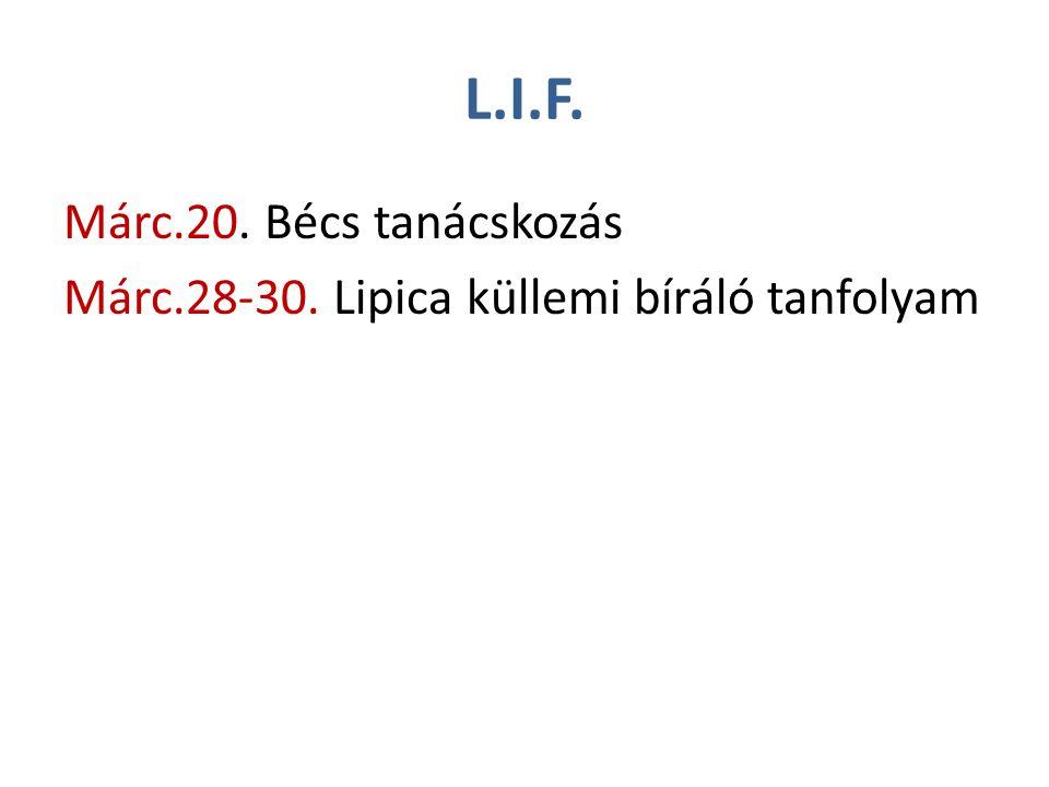 L.I.F. Márc.20. Bécs tanácskozás Márc.28-30. Lipica küllemi bíráló tanfolyam