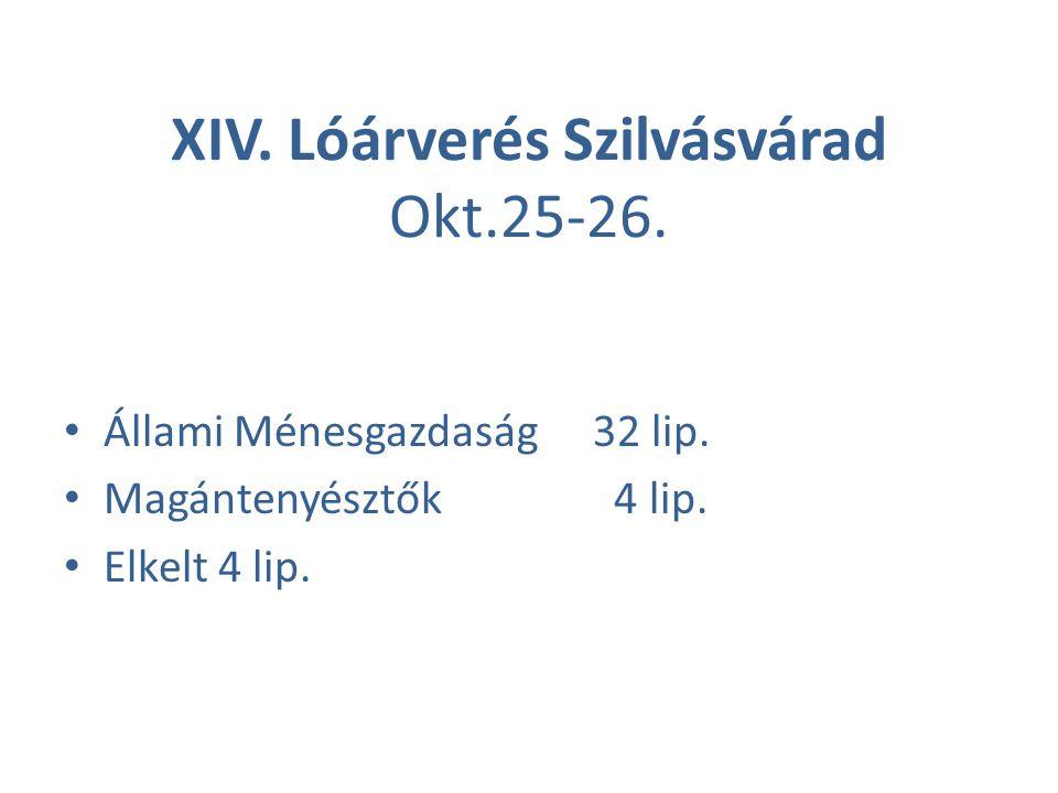XIV. Lóárverés Szilvásvárad Okt.25-26. Állami Ménesgazdaság32 lip. Magántenyésztők 4 lip. Elkelt 4 lip.