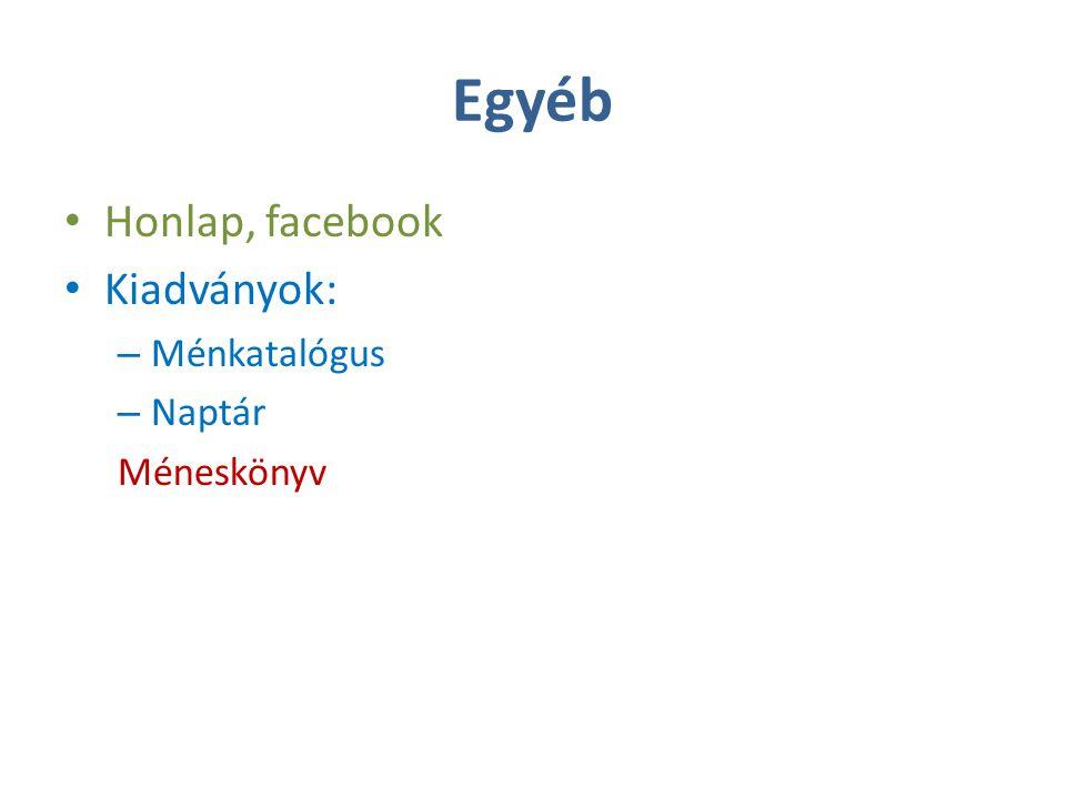 Egyéb Honlap, facebook Kiadványok: – Ménkatalógus – Naptár Méneskönyv