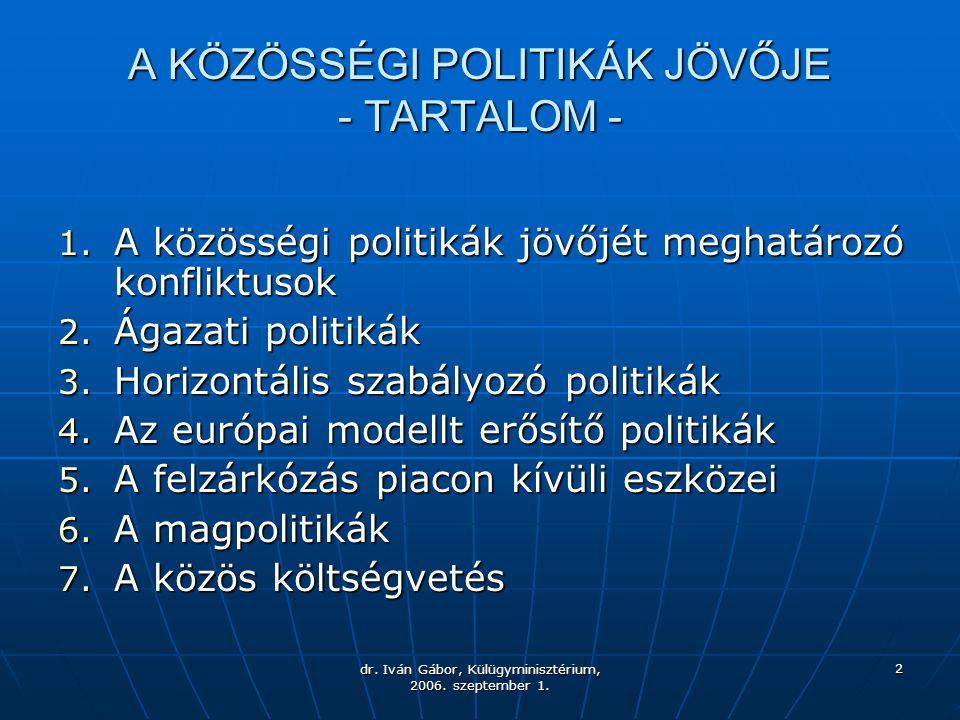 dr. Iván Gábor, Külügyminisztérium, 2006. szeptember 1. 2 A KÖZÖSSÉGI POLITIKÁK JÖVŐJE - TARTALOM - 1. A közösségi politikák jövőjét meghatározó konfl