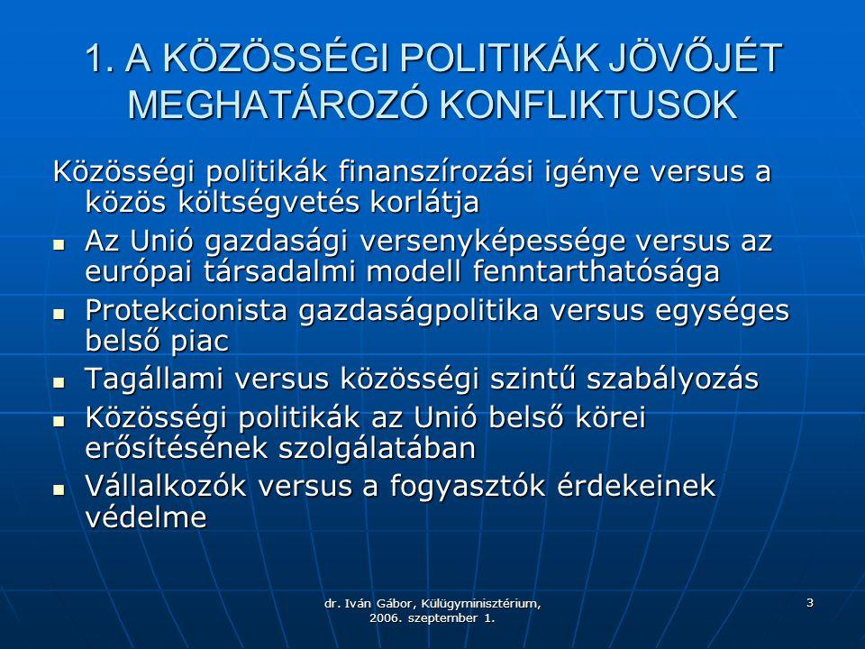 dr. Iván Gábor, Külügyminisztérium, 2006. szeptember 1. 3 1. A KÖZÖSSÉGI POLITIKÁK JÖVŐJÉT MEGHATÁROZÓ KONFLIKTUSOK Közösségi politikák finanszírozási
