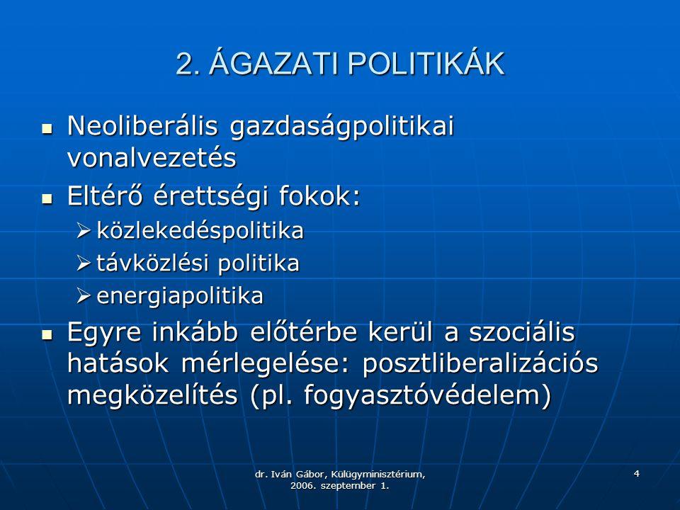 dr. Iván Gábor, Külügyminisztérium, 2006. szeptember 1. 4 2. ÁGAZATI POLITIKÁK Neoliberális gazdaságpolitikai vonalvezetés Neoliberális gazdaságpoliti