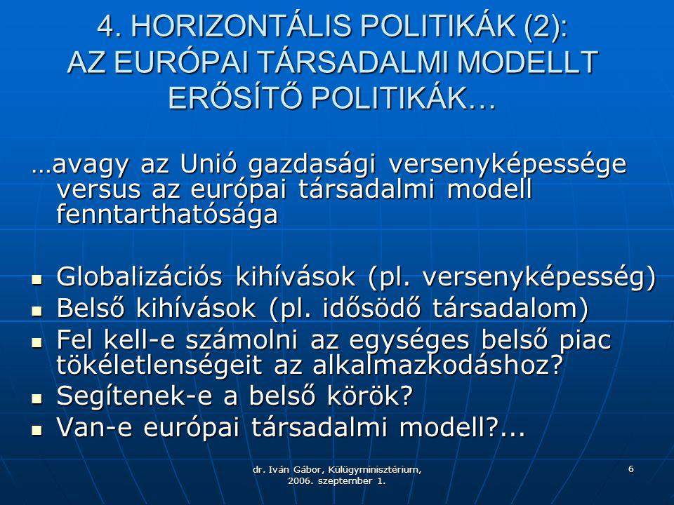 dr. Iván Gábor, Külügyminisztérium, 2006. szeptember 1. 6 4. HORIZONTÁLIS POLITIKÁK (2): AZ EURÓPAI TÁRSADALMI MODELLT ERŐSÍTŐ POLITIKÁK… …avagy az Un