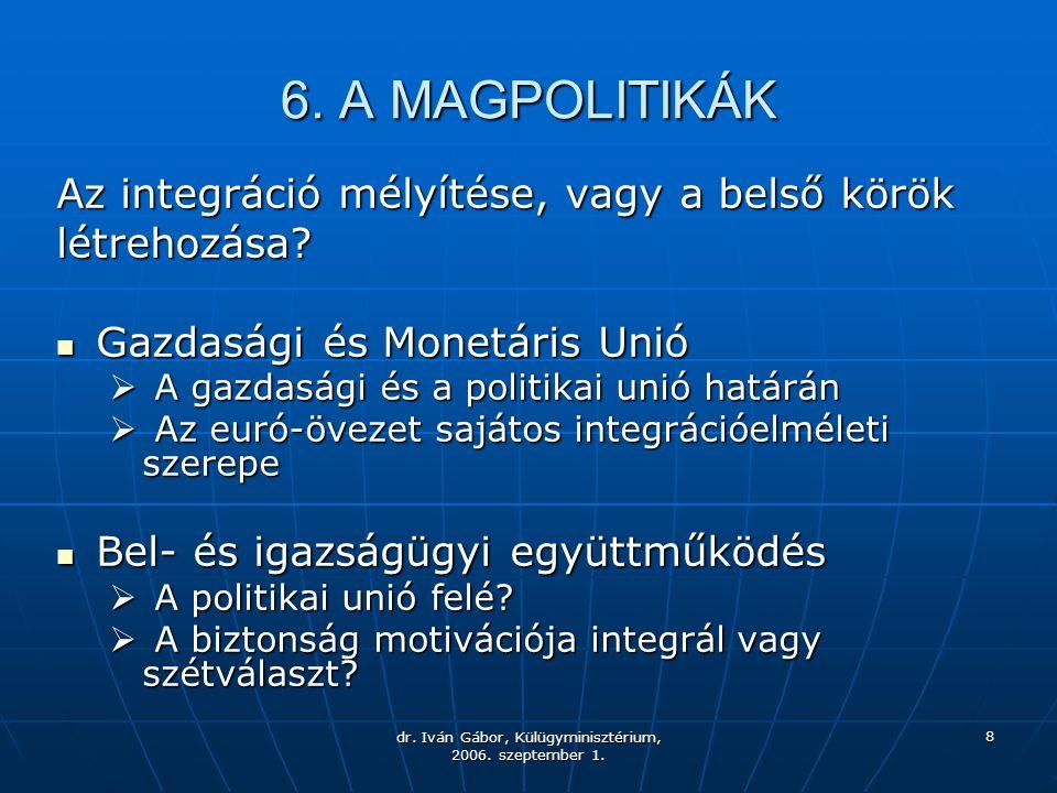 dr. Iván Gábor, Külügyminisztérium, 2006. szeptember 1. 8 6. A MAGPOLITIKÁK Az integráció mélyítése, vagy a belső körök létrehozása? Gazdasági és Mone