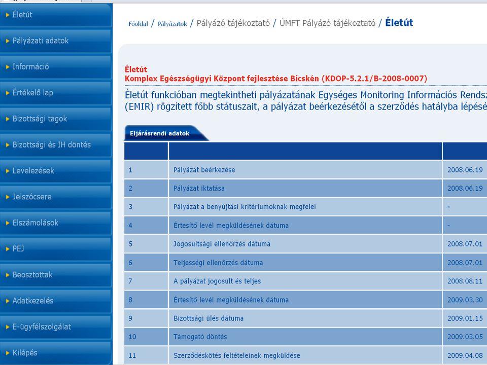 5 Életút - pályázat előrehaladását mutatja meg; Pályázati adatok, - a pályázat és a szerződés főbb adatai; Információ - letölthető dokumentumok; Értékelő lap - pályázat értékeléseinek adatai (a döntést követően); Bizottsági tagok - a bizottság névsora és szervezete (döntés után); Bizottsági és IH döntés - döntés adatai Levelezések - iktatott levelek listája; Jelszócsere - tényleg az; A felület funkciói