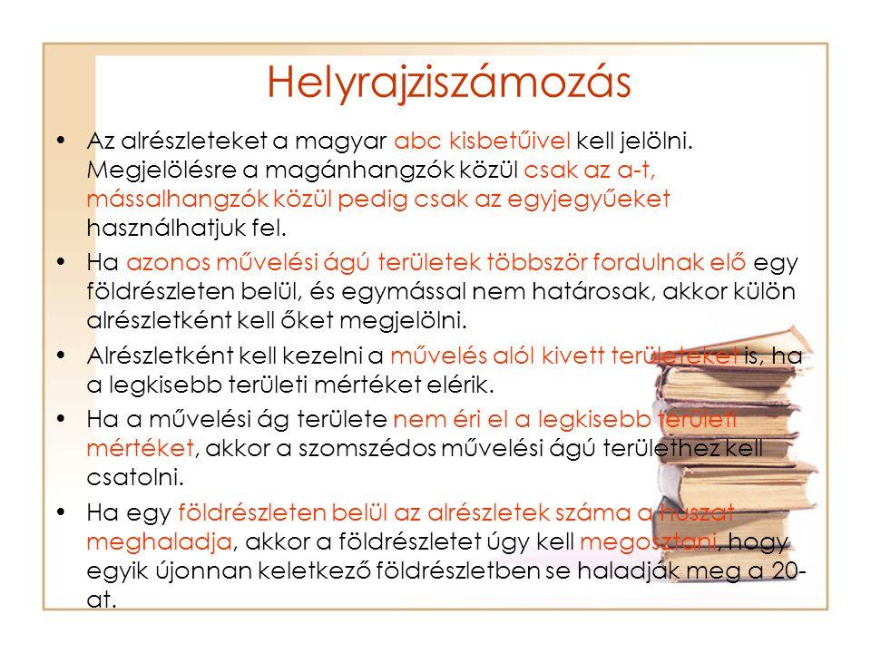 Helyrajziszámozás Az alrészleteket a magyar abc kisbetűivel kell jelölni. Megjelölésre a magánhangzók közül csak az a-t, mássalhangzók közül pedig csa
