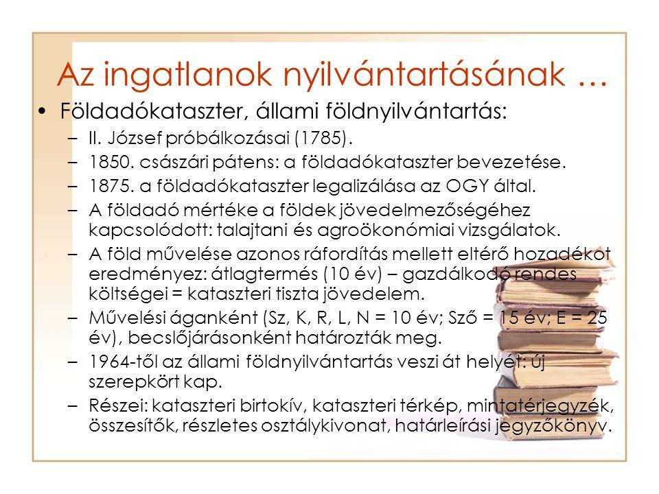 Az ingatlanok nyilvántartásának … Földadókataszter, állami földnyilvántartás: –II. József próbálkozásai (1785). –1850. császári pátens: a földadókatas