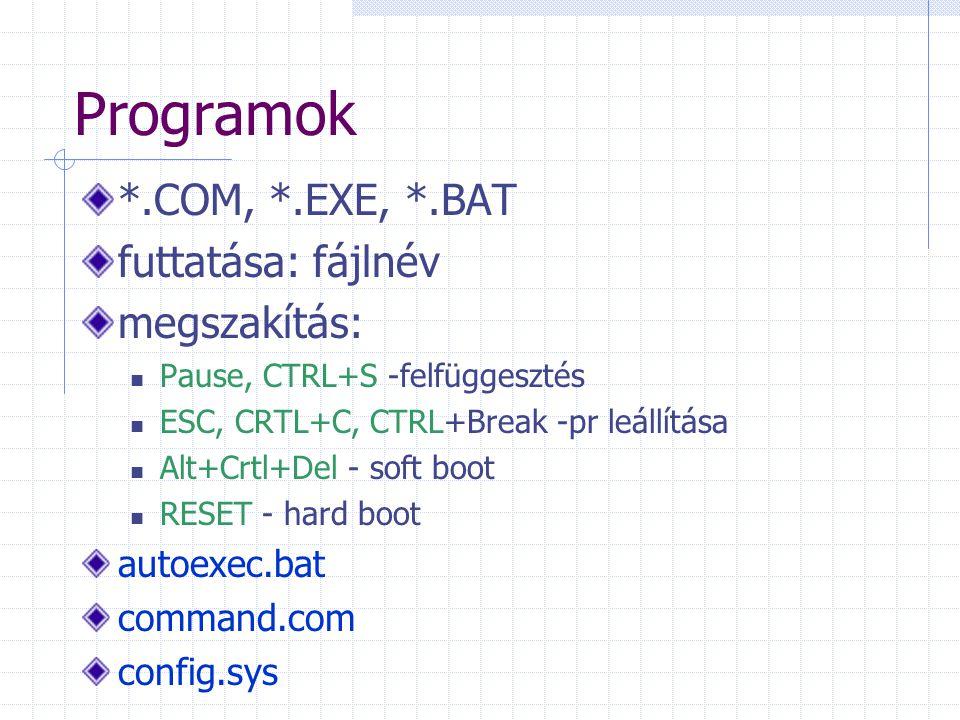 Programok *.COM, *.EXE, *.BAT futtatása: fájlnév megszakítás: Pause, CTRL+S -felfüggesztés ESC, CRTL+C, CTRL+Break -pr leállítása Alt+Crtl+Del - soft boot RESET - hard boot autoexec.bat command.com config.sys