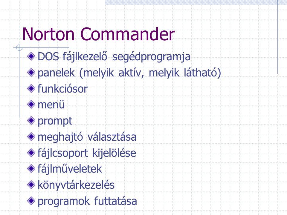 Norton Commander DOS fájlkezelő segédprogramja panelek (melyik aktív, melyik látható) funkciósor menü prompt meghajtó választása fájlcsoport kijelölése fájlműveletek könyvtárkezelés programok futtatása