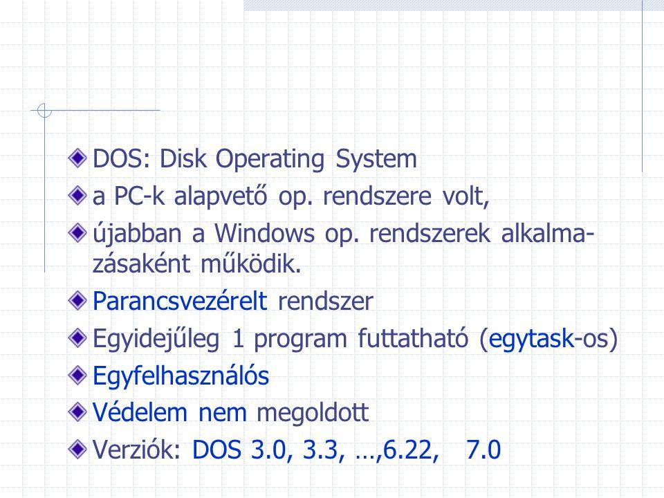 DOS: Disk Operating System a PC-k alapvető op. rendszere volt, újabban a Windows op. rendszerek alkalma- zásaként működik. Parancsvezérelt rendszer Eg