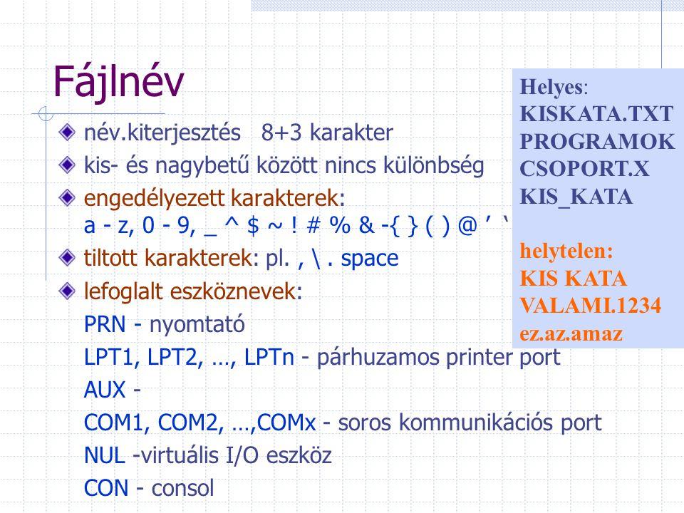 Fájlnév név.kiterjesztés 8+3 karakter kis- és nagybetű között nincs különbség engedélyezett karakterek: a - z, 0 - 9, _ ^ $ ~ ! # % & -{ } ( ) @ ' ' t