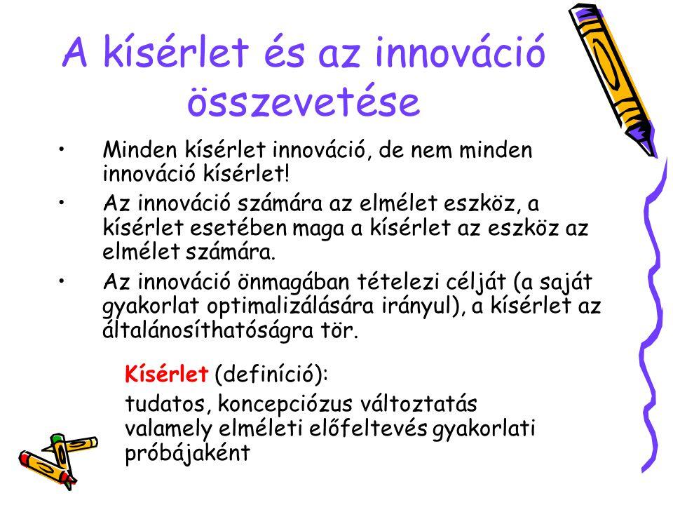 A kísérlet és az innováció összevetése Minden kísérlet innováció, de nem minden innováció kísérlet! Az innováció számára az elmélet eszköz, a kísérlet