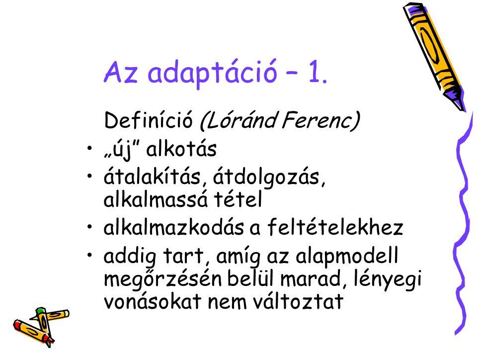 """Az adaptáció – 1. Definíció (Lóránd Ferenc) """"új"""" alkotás átalakítás, átdolgozás, alkalmassá tétel alkalmazkodás a feltételekhez addig tart, amíg az al"""