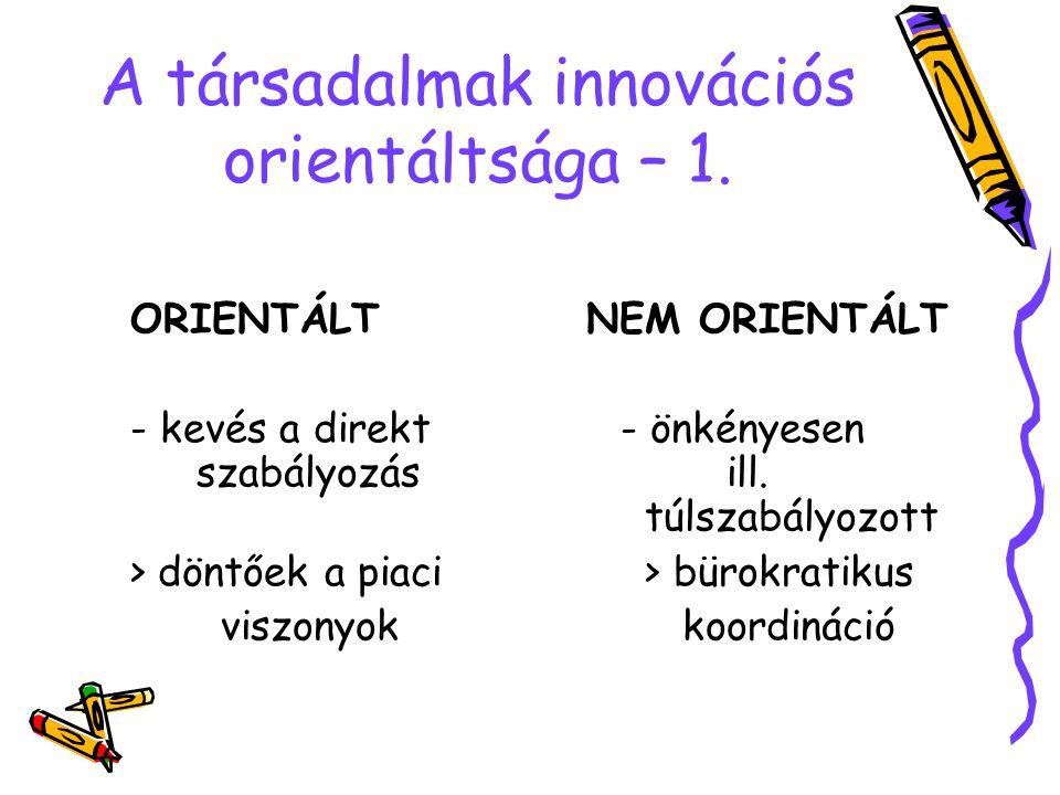 A társadalmak innovációs orientáltsága – 1. ORIENTÁLT NEM ORIENTÁLT - kevés a direkt- önkényesen szabályozás ill. túlszabályozott > döntőek a piaci >