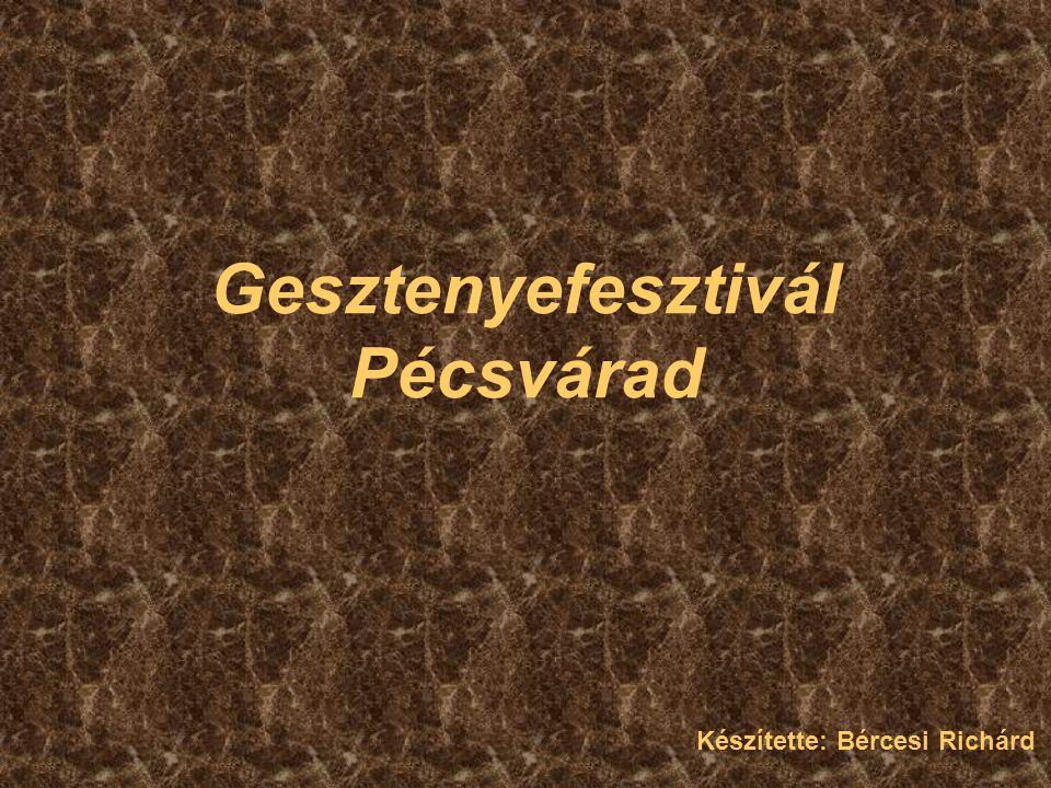 Története és tradíciója 1966 óta minden évben megrendezik október közepén Az ünnep középpontjában a szelídgesztenye áll Zengőalja: a Dél-Dunántúl legnagyobb összefüggő szelídgesztenyése
