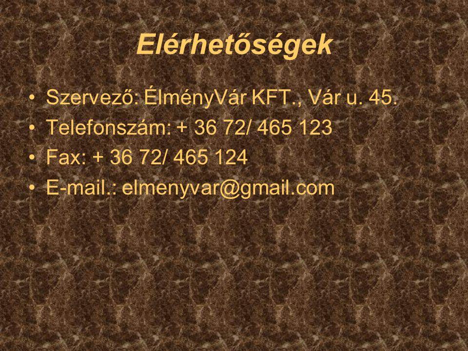 Elérhetőségek Szervező: ÉlményVár KFT., Vár u. 45. Telefonszám: + 36 72/ 465 123 Fax: + 36 72/ 465 124 E-mail.: elmenyvar@gmail.com