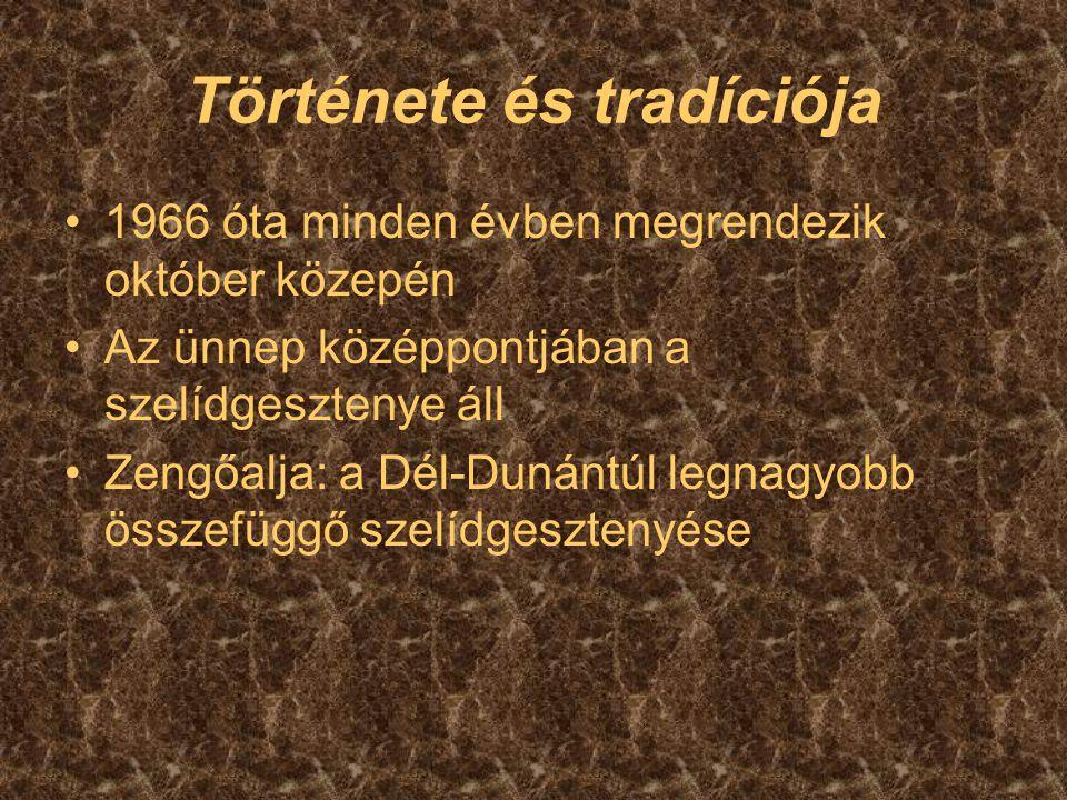 Története és tradíciója 1966 óta minden évben megrendezik október közepén Az ünnep középpontjában a szelídgesztenye áll Zengőalja: a Dél-Dunántúl legn