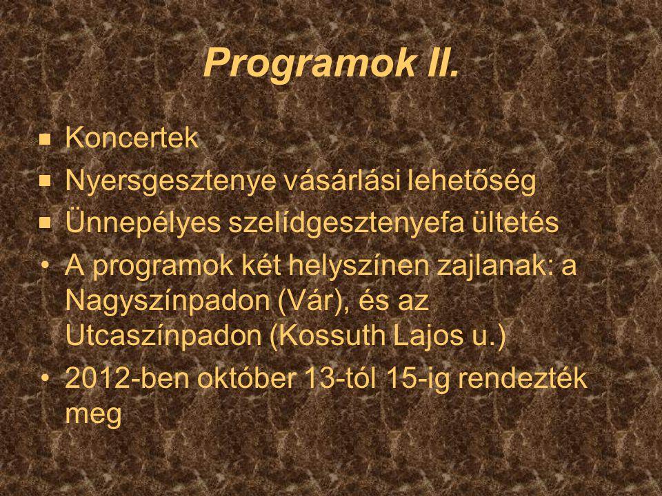 Programok II. Koncertek Nyersgesztenye vásárlási lehetőség Ünnepélyes szelídgesztenyefa ültetés A programok két helyszínen zajlanak: a Nagyszínpadon (
