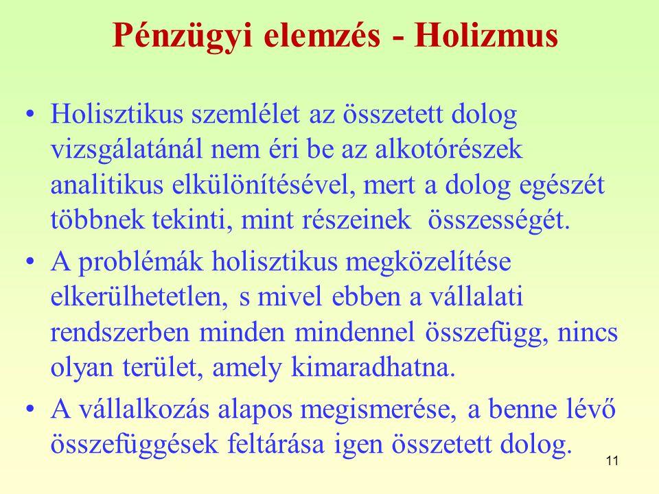 Pénzügyi elemzés - Holizmus Holisztikus szemlélet az összetett dolog vizsgálatánál nem éri be az alkotórészek analitikus elkülönítésével, mert a dolog
