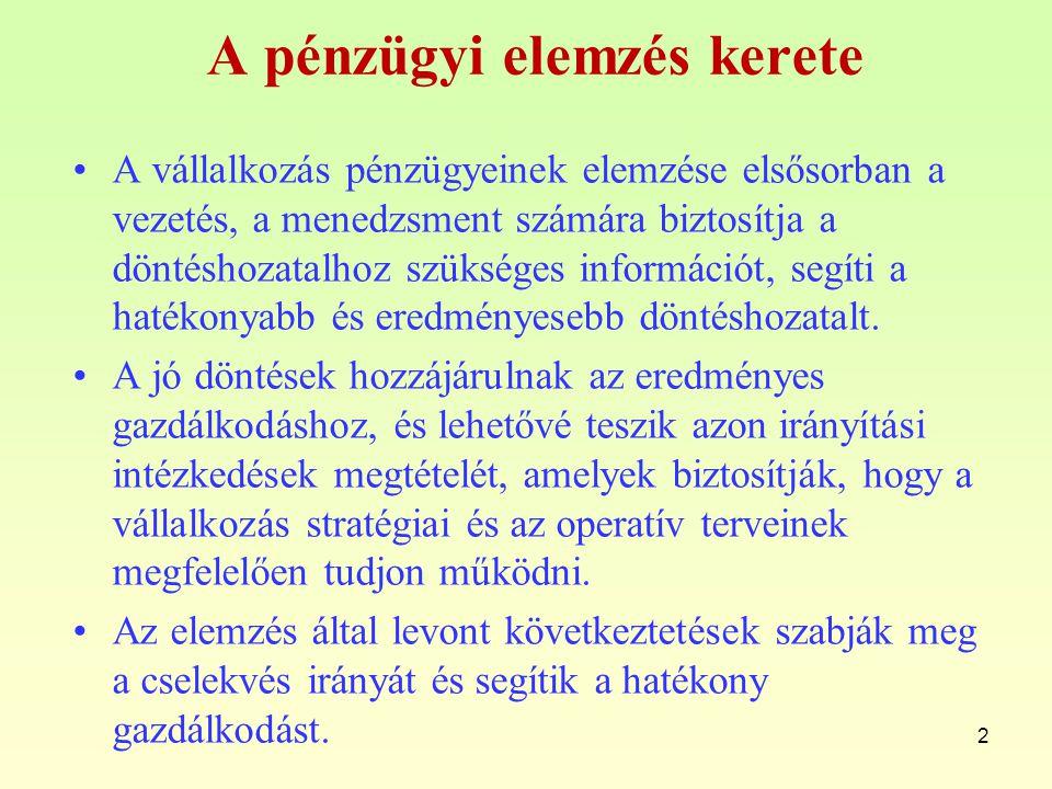 Pénzügyi elemzés A pénzügyi elemzés a gazdasági elemzés egy részterülete.