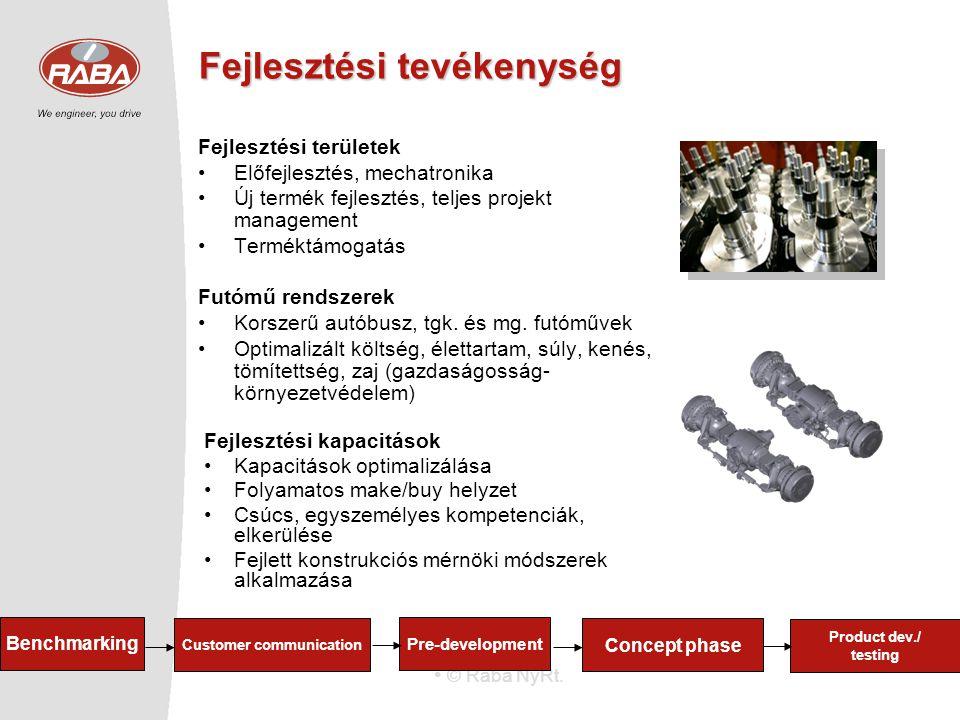© Rába NyRt. Fejlesztési tevékenység Fejlesztési területek Előfejlesztés, mechatronika Új termék fejlesztés, teljes projekt management Terméktámogatás