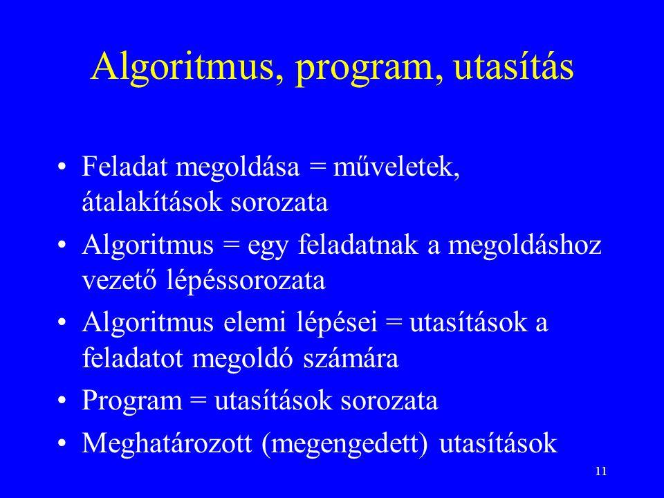11 Algoritmus, program, utasítás Feladat megoldása = műveletek, átalakítások sorozata Algoritmus = egy feladatnak a megoldáshoz vezető lépéssorozata A