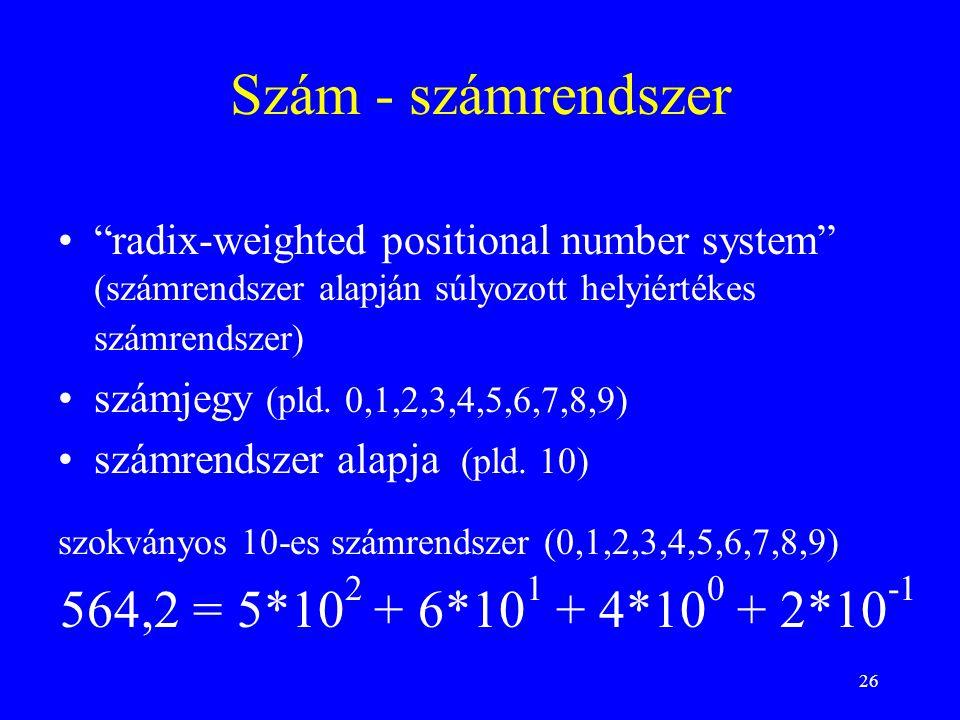 """26 Szám - számrendszer """"radix-weighted positional number system"""" (számrendszer alapján súlyozott helyiértékes számrendszer) számjegy (pld. 0,1,2,3,4,5"""