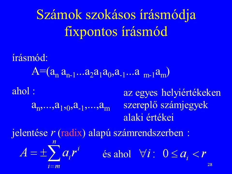 28 Számok szokásos írásmódja fixpontos írásmód írásmód: A=(a n a n-1...a 2 a 1 a 0,a -1...a m-1 a m ) ahol : a n,...,a 1, 0,a -1,...,a m az egyes hely