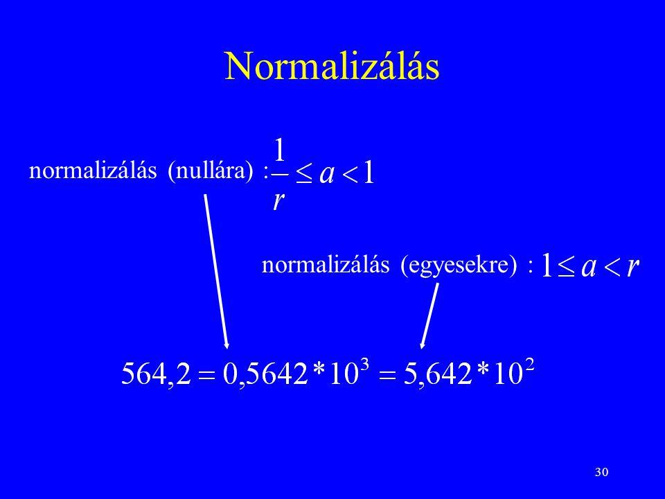30 Normalizálás normalizálás (nullára) : normalizálás (egyesekre) :