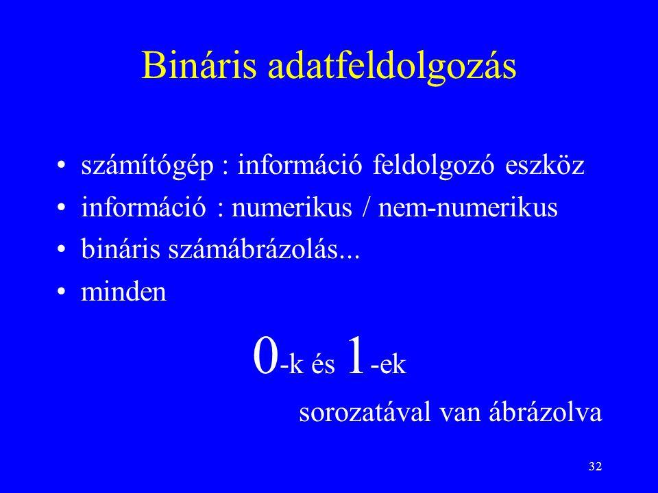 32 Bináris adatfeldolgozás számítógép : információ feldolgozó eszköz információ : numerikus / nem-numerikus bináris számábrázolás... minden 0 -k és 1